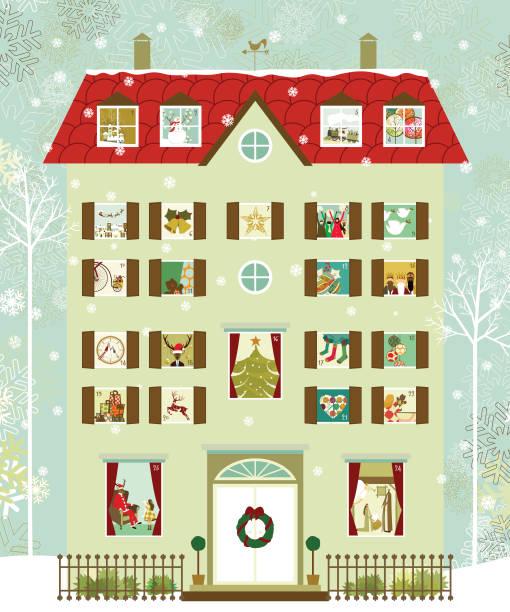 illustrations, cliparts, dessins animés et icônes de calendrier de l'avent de la maison - calendrier de l'avent