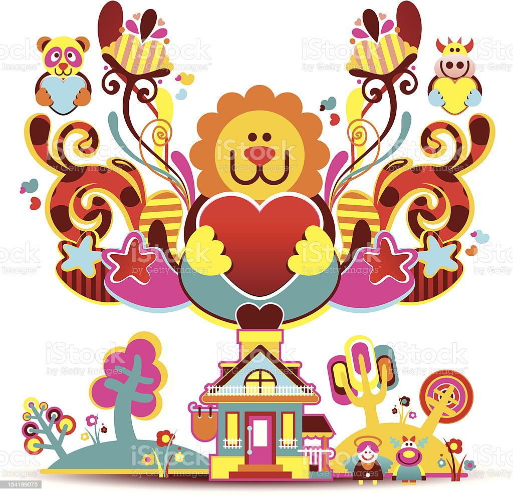 house and a beautiful composition royalty-free stock vector art