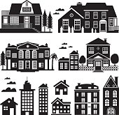 House and Apartment Building Silhouette, Icon Set. JPG and EPS, vector.