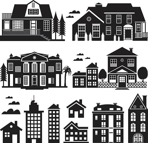 Haus und Wohnung-Gebäude Silhouette, Icon-Set – Vektorgrafik
