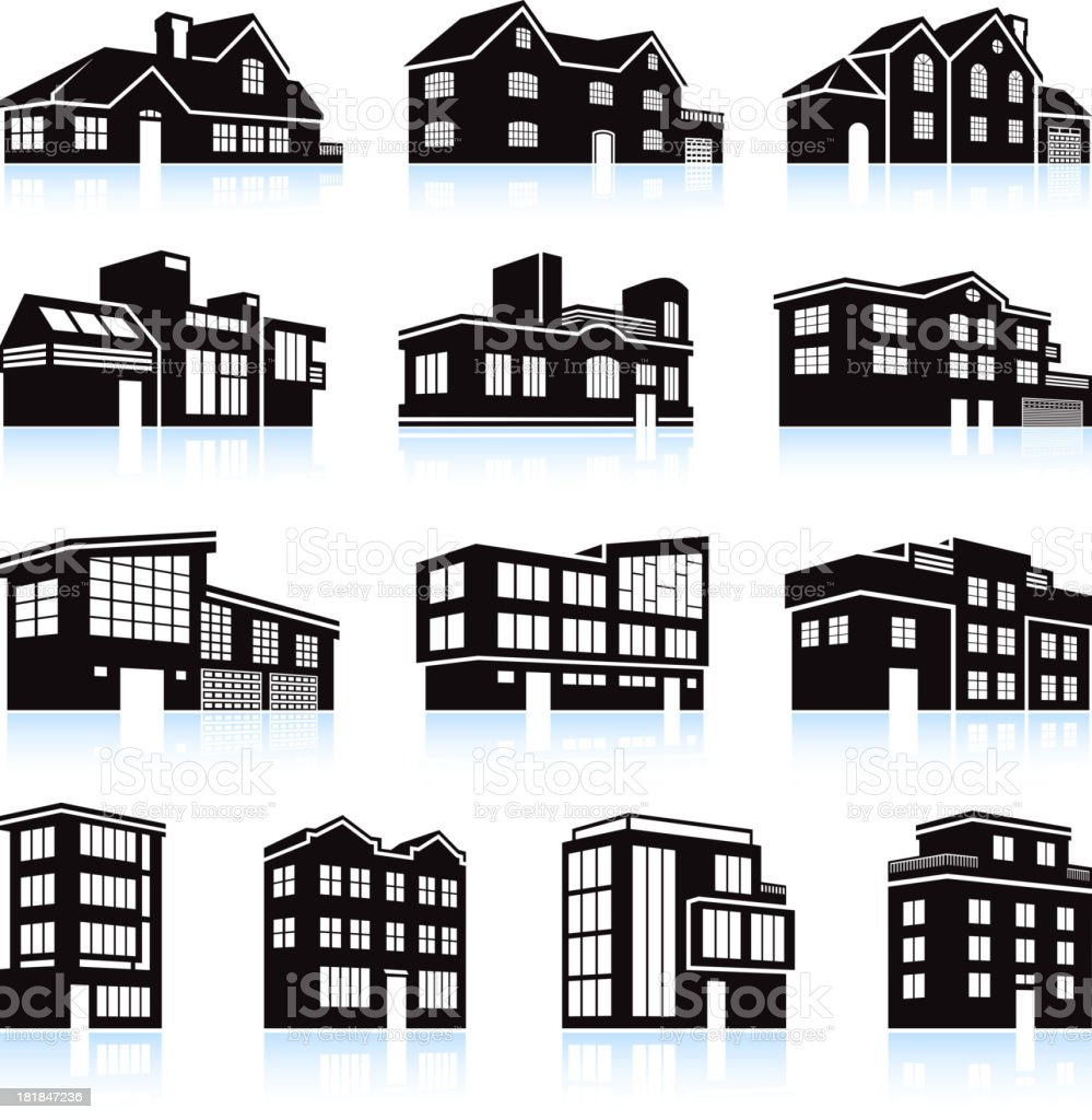 Black and white apartment building clip art home design plan for Apartment design vector