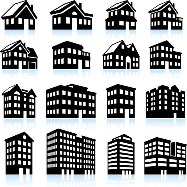 3d house and apartment icons black and white - apartment stock illustrations, clip art, cartoons, & icons