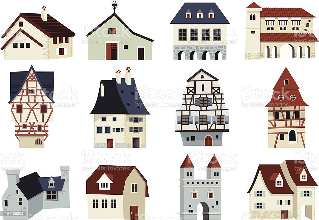 house and building icon 02 vector art illustration
