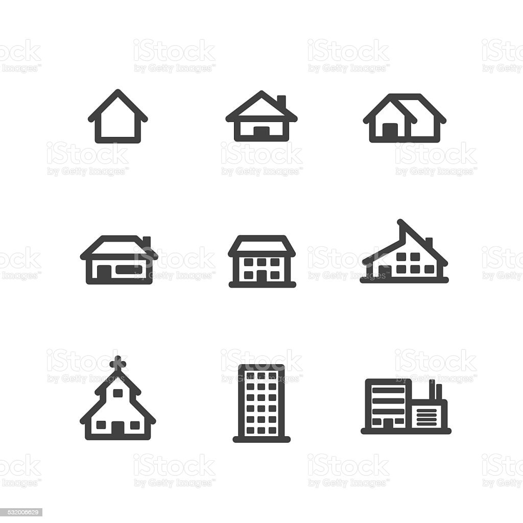 House and Building Icons vector art illustration