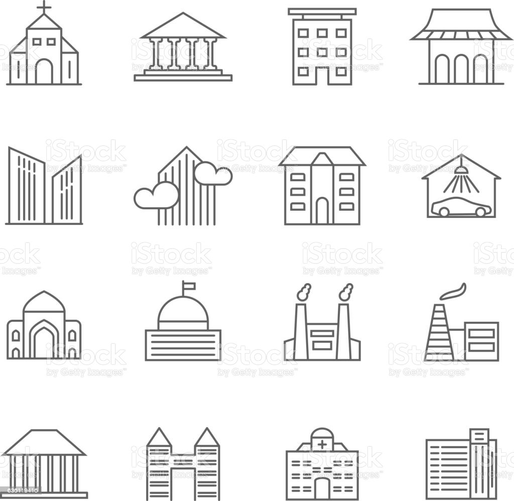 House and building vector line icons real estate outline symbols house and building vector line icons real estate outline symbols royalty free house and biocorpaavc Image collections