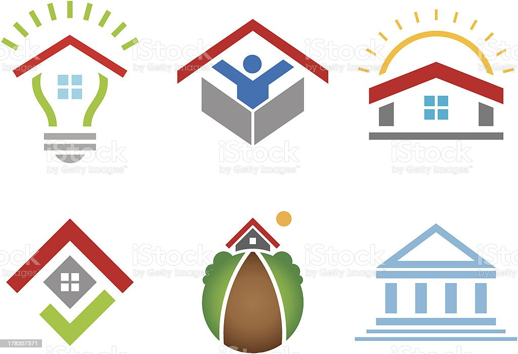 House and business building social community logo construction marketing royalty-free stock vector art