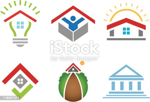 istock House and business building social community logo construction marketing 178357371