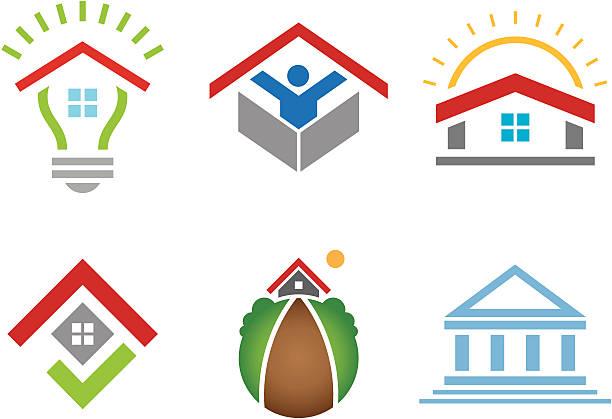 haus und einem business-gebäude social community marketing-konstruktion - entdeckungskiste stock-grafiken, -clipart, -cartoons und -symbole