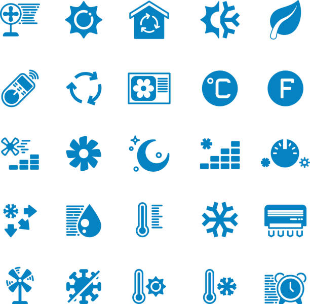 House and car air conditioning, heating and cooling vector icons vector art illustration