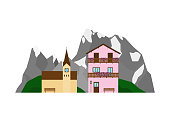Private house or chalet and church on the landscape with Alpine mountains, green hills in flat style isolated on white background.