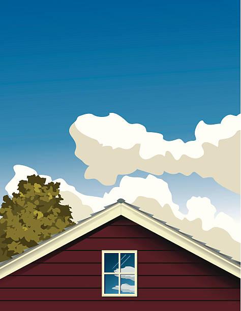 дом и облака с дерево - карниз stock illustrations