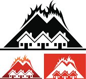 House and Community with Wild Fire