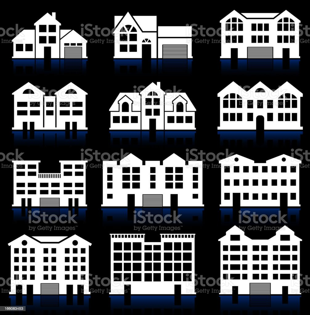 House and Condo Building black & white vector icon set royalty-free stock vector art