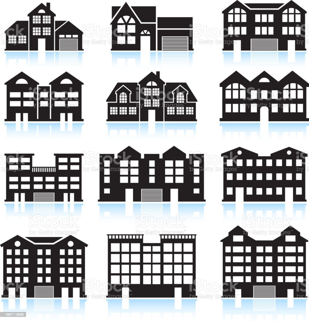 House and Condo Building black & white vector icon set vector art illustration
