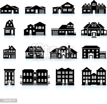 House and condo Building Innovation black & white icon set