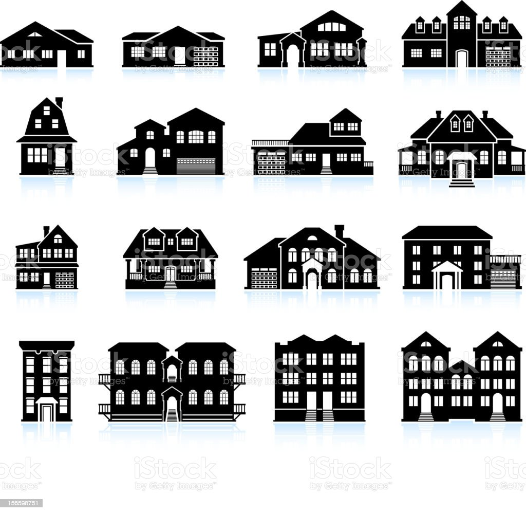 House and condo Building Innovation black & white icon set vector art illustration