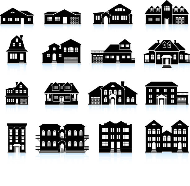 House and condo Building Innovation black & white icon set House and condo Building Innovation black & white icon set villa stock illustrations