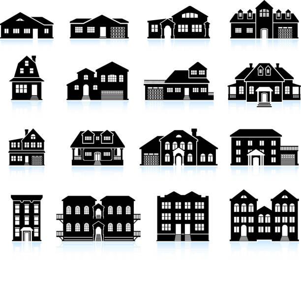 haus und wohnung gebäude innovation schwarz & weißen icon-set - villas stock-grafiken, -clipart, -cartoons und -symbole