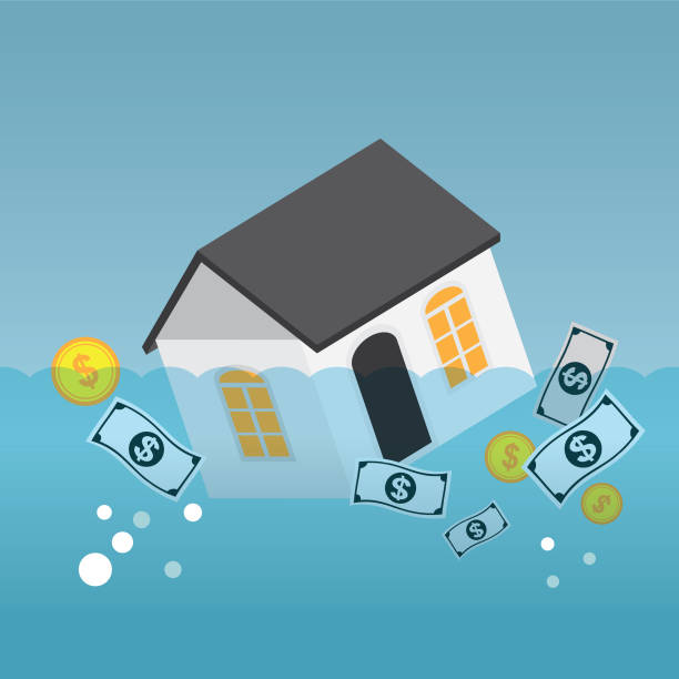 Casa y la deuda - ilustración de arte vectorial