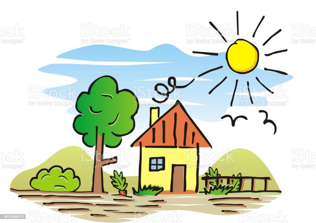 Maison Et Jardin Dessin A La Main Cliparts Vectoriels Et Plus D