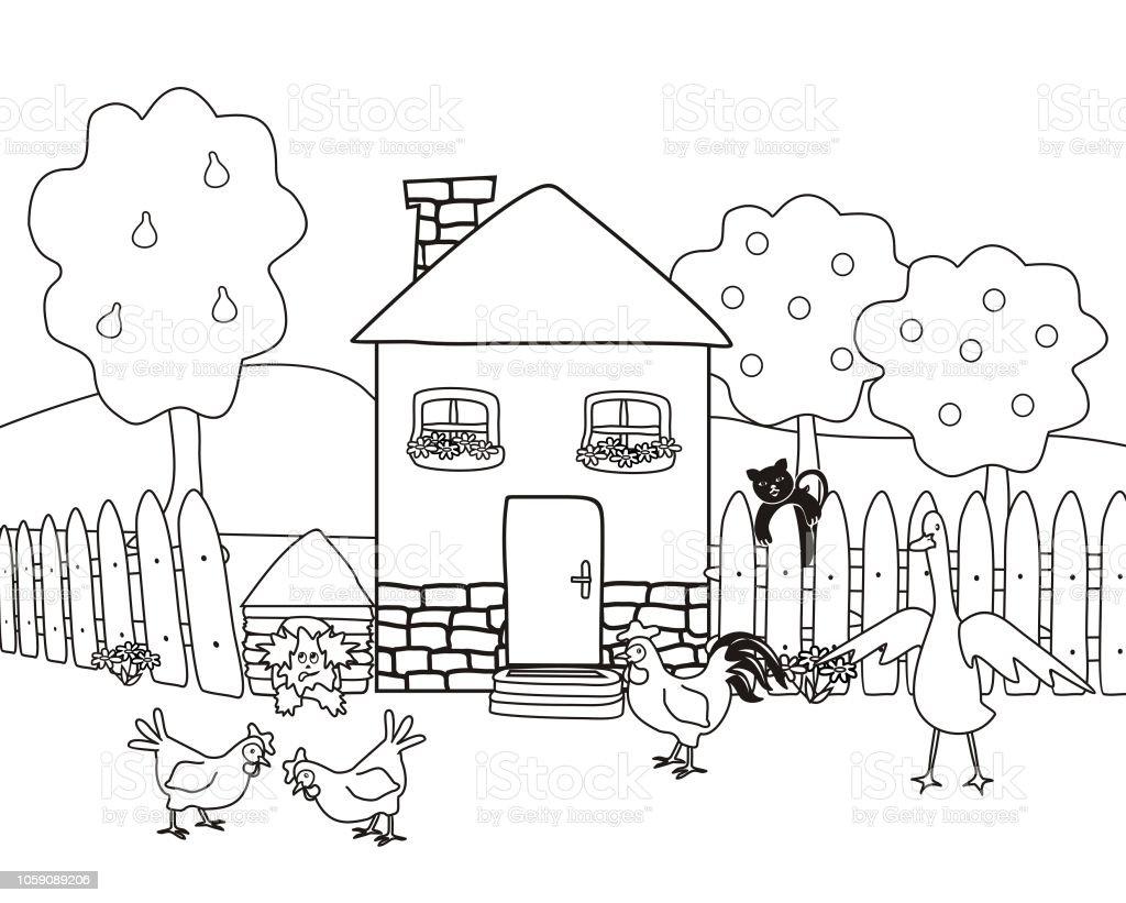 House And Garden With Farm Animals Coloring Book Stock Vector Art