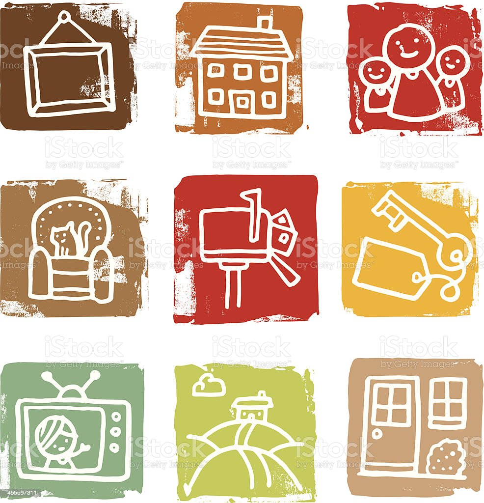 House and home block icon set vector art illustration