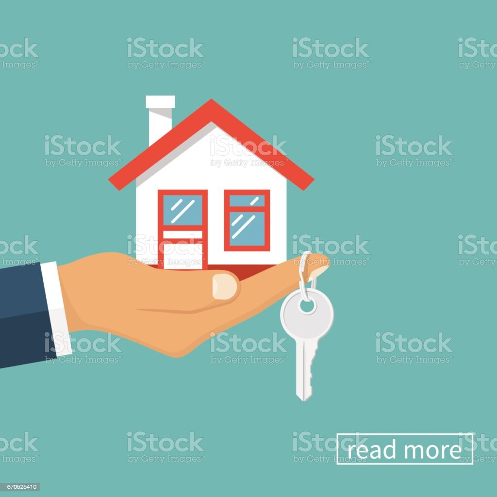 Casa e chave na mão - ilustração de arte em vetor