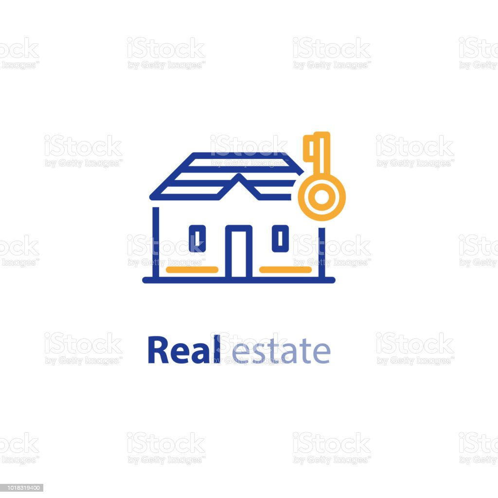 House And Key Line Icon Real Estate Services Rent Residential Building Stock Illustration Download Image Now Istock