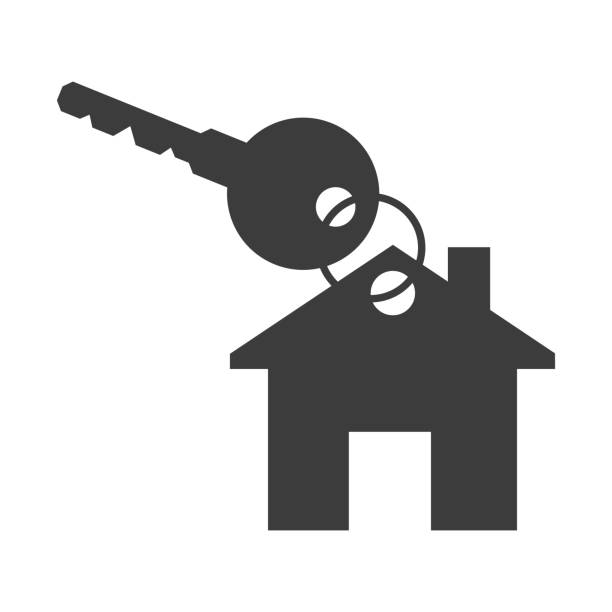 House and key on white background. House and key on white background. Vector Illustration house key stock illustrations