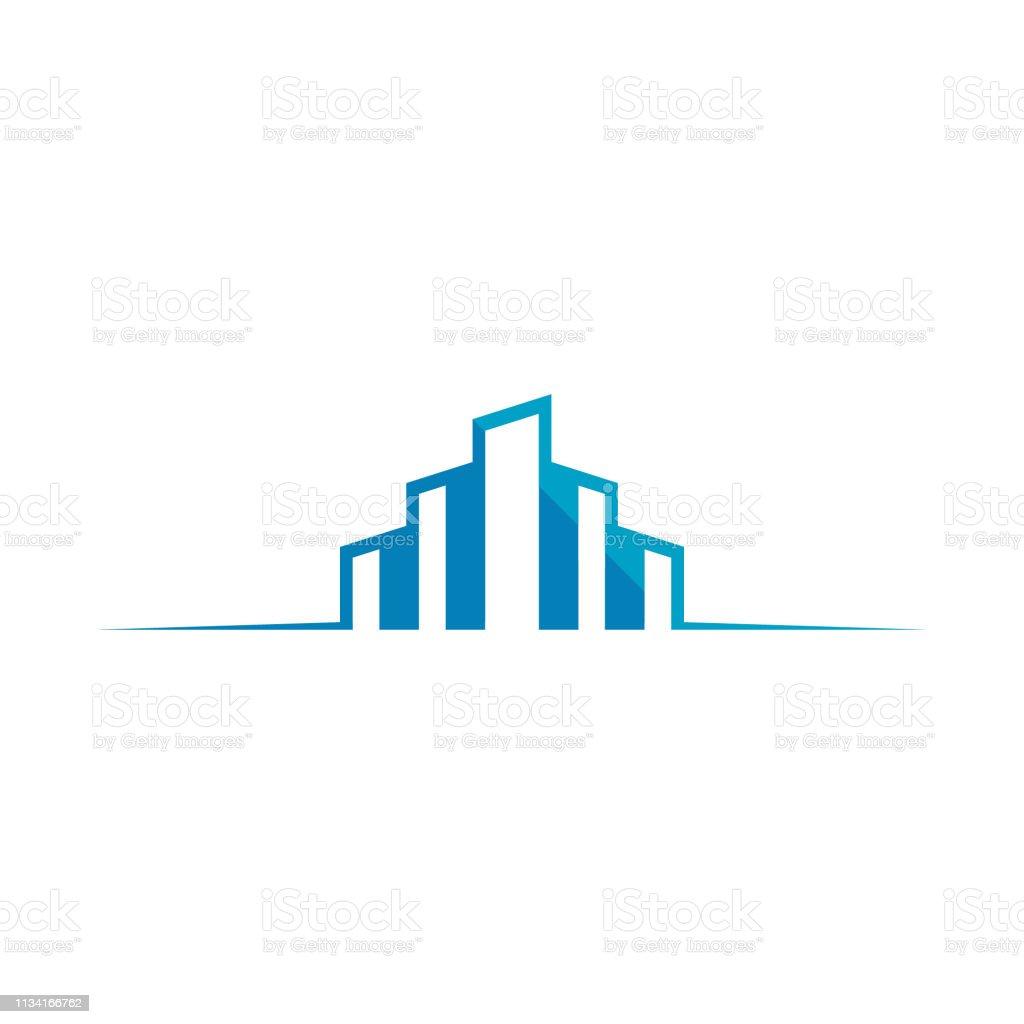 House And Key Symbol For Company Identity vector art illustration