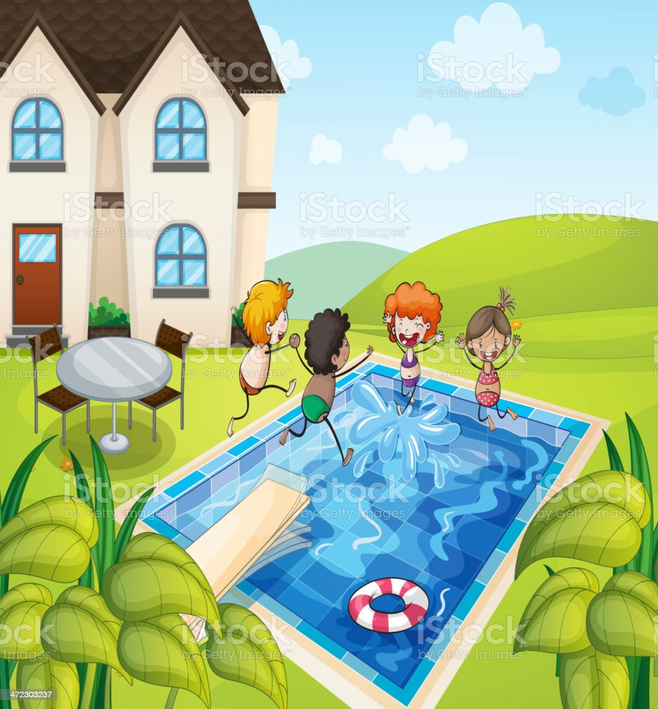 House and kids royalty-free stock vector art