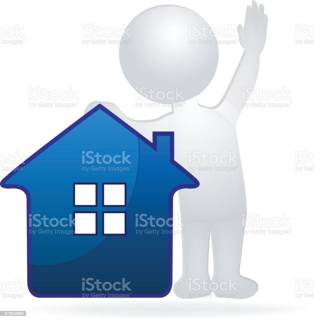 Ev ve adam. Emlak royalty-free ev ve adam emlak stok vektör sanatı & abd'nin daha fazla görseli