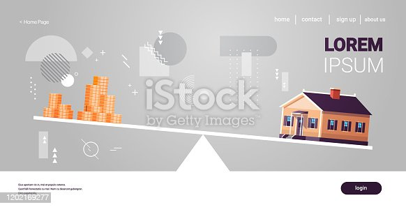 house and money cons balancing on scales real estate investing rental expense liabilities and mortgage concept horizontal copy space vector illustration
