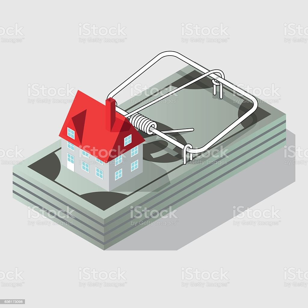 House and mousetrap vector art illustration