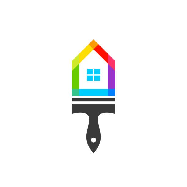 illustrations, cliparts, dessins animés et icônes de maison à pinceaux combinés comme peintre en bâtiment concept - logo peintre en batiment