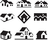House and Real Estate Black & White royalty free-vector arts
