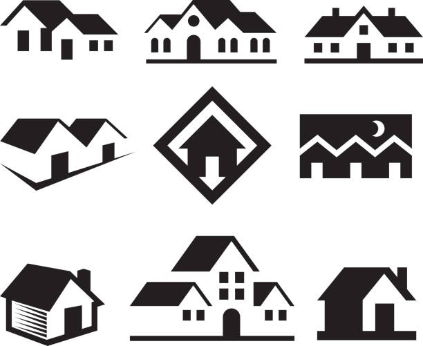 House and Real Estate Black & White royalty free-vector arts House and Real Estate Black & White Icons villa stock illustrations
