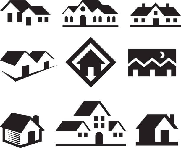 haus und immobilien & lizenzfreie schwarz-weiß-vektor-kunst - villas stock-grafiken, -clipart, -cartoons und -symbole
