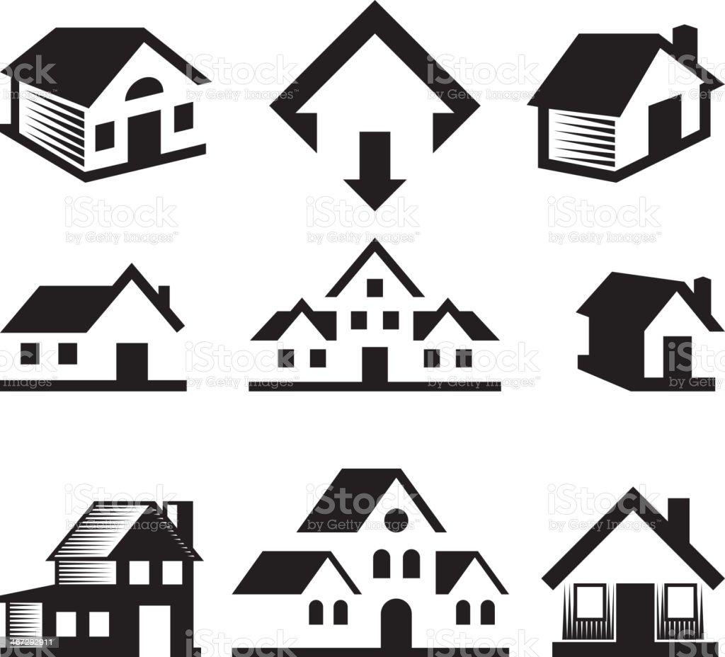 haus und immobilien schwarz wei lizenzfreie vektorkunst stock vektor art und mehr bilder von. Black Bedroom Furniture Sets. Home Design Ideas