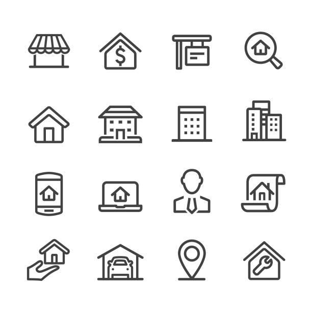 ilustraciones, imágenes clip art, dibujos animados e iconos de stock de casa y bienes raíces iconos - serie acme - hipotecas y préstamos
