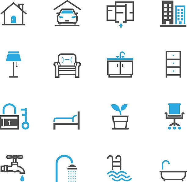 haus und immobilien-icons - bodenbetten stock-grafiken, -clipart, -cartoons und -symbole