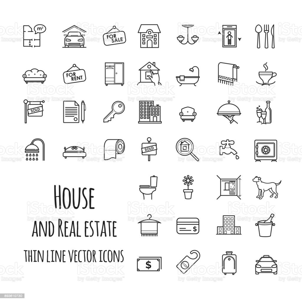 House and real estate vector icons set vector art illustration