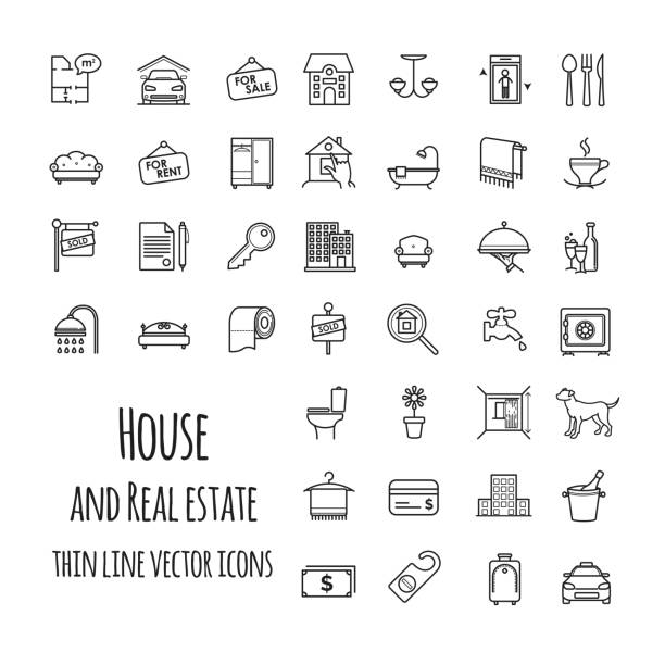 stockillustraties, clipart, cartoons en iconen met huis en real estate vector icons set - interior design