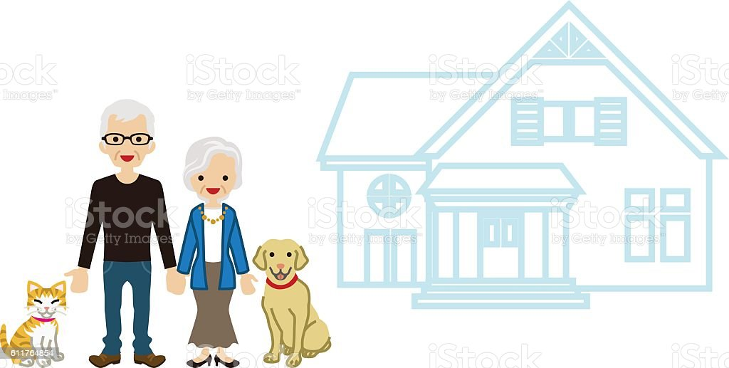 House and Senior couple - Pets vector art illustration