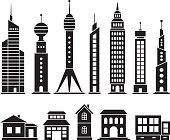 House and skyscraper set