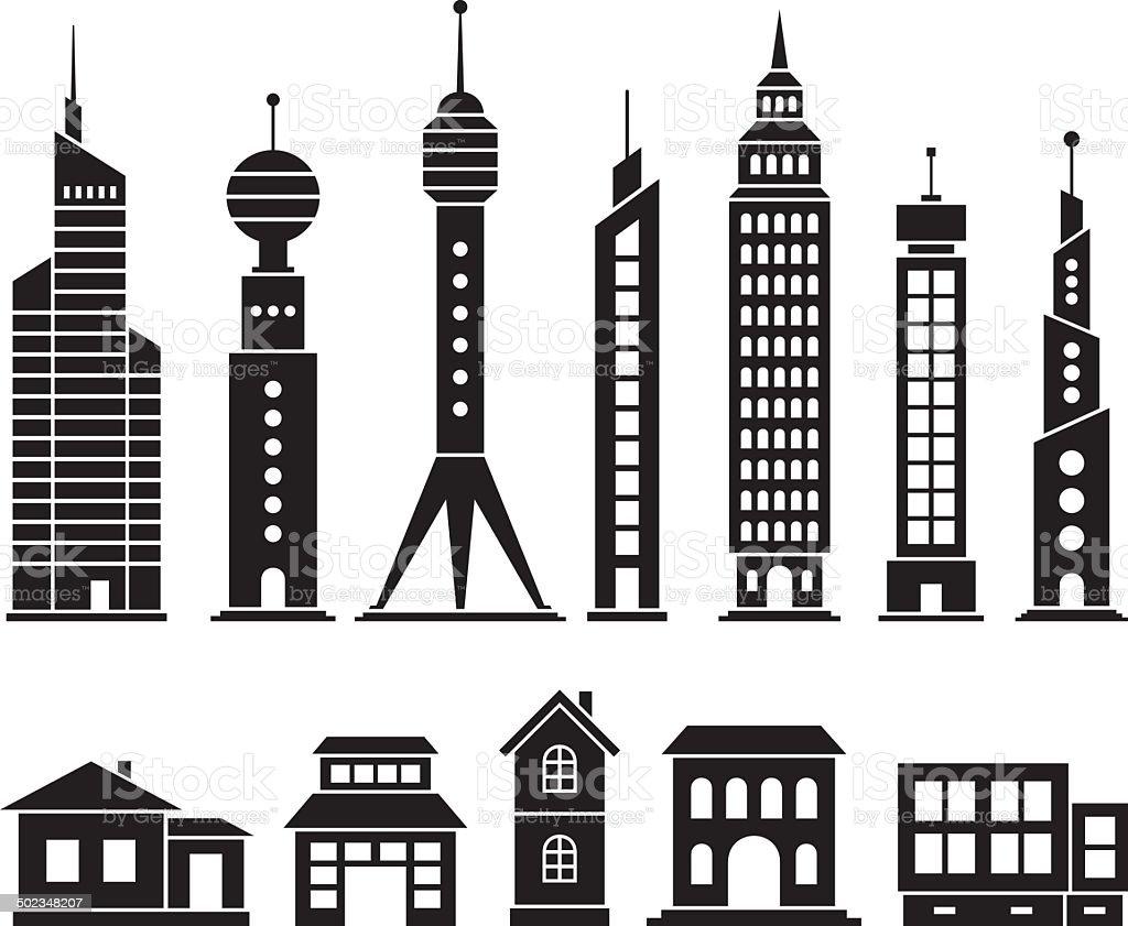 House and skyscraper set vector art illustration