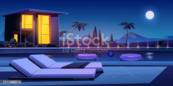istock House and swimming pool at night 1211493214