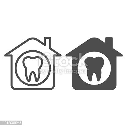 House and tooth line and solid icon. Private dental clinic or home symbol, outline style pictogram on white background. Dentistry sign for mobile concept and web design. Vector graphics