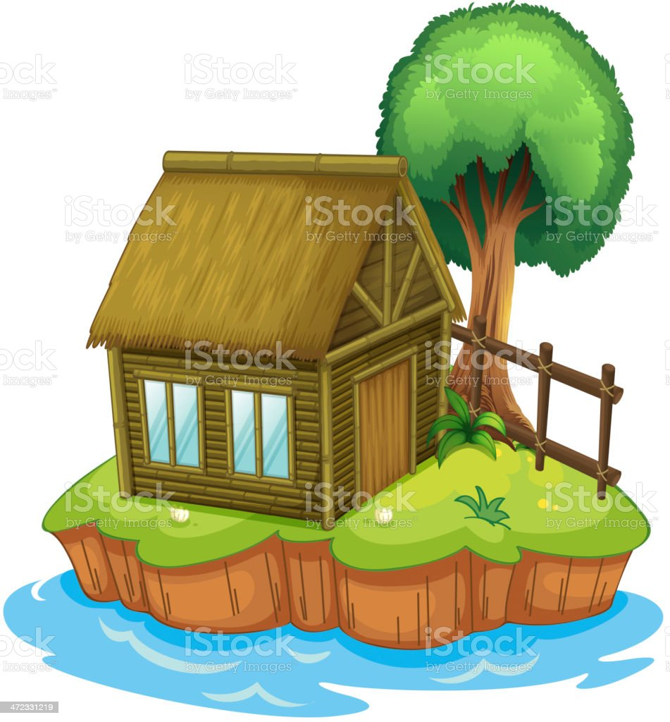 House and tree on island royalty-free stock vector art