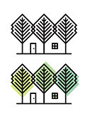 Cottage among trees. Files included: Vector EPS 10, HD JPEG 3000 x 4000 px